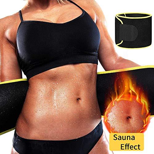Bauch-brenner (DANLOTE Taille Trimmer Gürtel, Taille Trainer Fördert Das Schwitzen Gewicht Verlust Gürtel mit Sauna Anzug Effect-Sweat Enhancer Fett Brenner für Damen & Herren, Damen, Gelb, Small)
