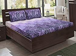 Bombay Dyeing double bedsheet with 2 pillow covers-Eternia-Purple