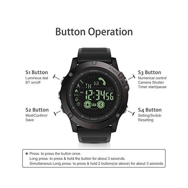 Smartwatch Hombre Deporte Reloj Inteligente Hombre Deporte con Estilo Smartwatch para Deportes y Aire Libre con Contadores de Podómetro Calorías Cronómetro Notificación de Mensajes para Android y iOS 3
