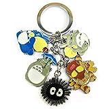 Yililay Klassische Memory-Metall-Schlüsselanhänger Nette Totoro Cartoon Mein Nachbar Totoro Keychain Schlüsselanhänger Dekoration mit 5 Charms Schmuck Zubehör