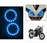 #9: Lowrence Bike Headlight Angel Eyes Led Light Set Of 2 Blue-Yamaha Fazer