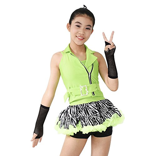 MiDee Girls' 3 Pieces Halter Zebra Jazz Dance Costume Hip Hop Outfits (LC, Apple Green)