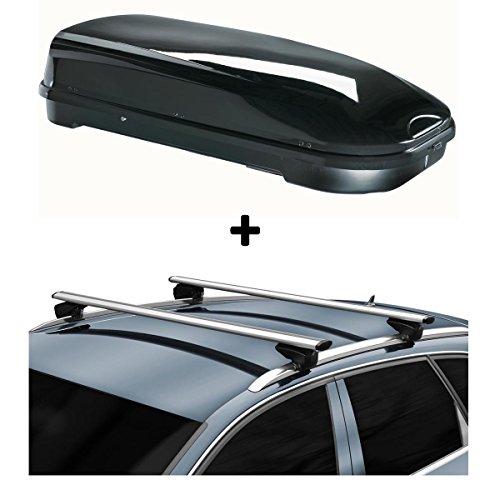 Dachbox VDP-FL580 + Alu Relingträger kompatibel mit BMW 3er Touring F31 12-15 aufliegend Reling