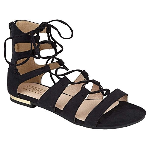 Womens ladies flat lace up cross over wrap around strappy gladiator sandals shoe size (5 UK, Black)