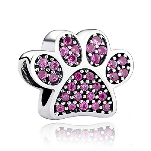 FeatherWish - Ciondolo in argento Sterling 925 con scritta'I Love My Pet a forma di zampa rosa, con zirconia cubica, compatibile con braccialetti Pandora