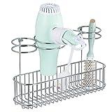 mDesign porte sèche-cheveux pour fixation murale – idéale pour rangement sèche-cheveux et porte-lisseur – étagère murale en métal avec 4 anneaux de support et surface de rangement – argenté