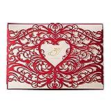 Wishmade Rouge Cartes d'invitation de mariage Définit 50 pièces Laser Cut élégant Motif cœur creux Floral pour anniversaire fiançailles de mariage de douche Cartes d'invitation avec enveloppes