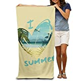 "lilihome I Love Summer Custome 100% Polyester Soft Beach Towel(31"" 51""), Quick Dry Super Absorbent Beach Towel for Men Or Women"
