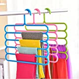 Inovera 5 Layer Pants Clothes Hanger Wardrobe Storage Rack Set of 4, Assorted Colour