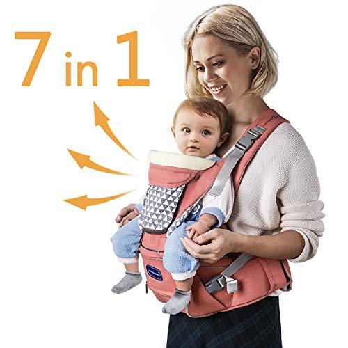 Windsleeping Kleinkinder Baby Carrier mit Kapuze für alle Jahreszeiten, 7 Möglichkeiten zu tragen, Hip Sitz Carrier Vorder- und Rückseite, Silikon griffsicheres Sitzfläche - Orange