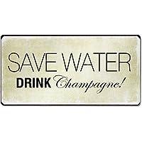 Kühlschrankmagnet Deko Magnet im Antik Look Save Water Drink Champagne!