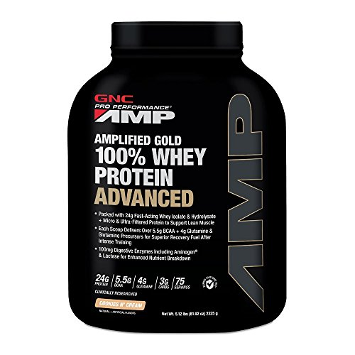 GNC AMP Amplified Gold 100% Whey Protein Advanced - 5.12 lbs, 2.32 Kg (Cookies and Cream)