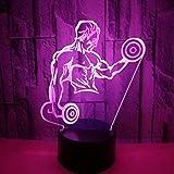 Muskel Männer 3D Nachtlichter Hanteln Fitness Bunte Touch Fernbedienung Led Vision Lichter Geschenk...