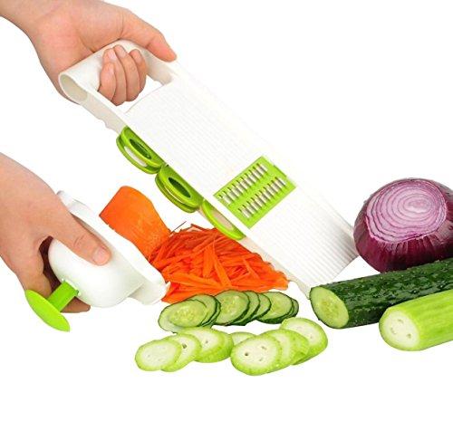 Newyond Mandoline Slicer/Pflanzliche Slicer/Gemüsehobel 5 in 1 Profi-Mandoline Reibe - Schneiden oder Zerteilen Gemüse Obst schnell und gleichmäßig Best Gemüseschneider Slicer mit 5 verschiedenen