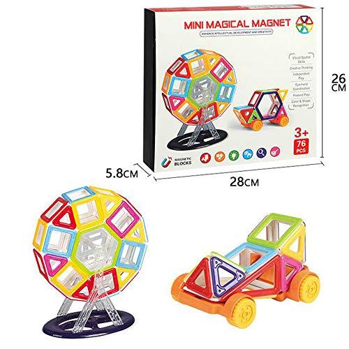 usteine Magnete Bauklötze Konstruktion Blöcke Bausatz Pädagogisches Spielzeug Set Kreative Spielzeuge Kinder Kleinkind Mädchen Jungen Tolles (76tlg) ()