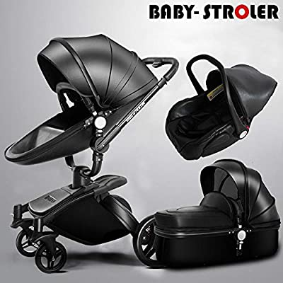 HXPH 3-in-1Baby stroller high landscape folding two-way shock baby car can sit and lay light trolley