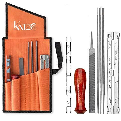 Katzco - Juego de 8 sacapuntas para motosierras (5/32, 3/16, 7/32 pulgadas, mango de madera, calibre de profundidad, guía de archivo, bolsa de herramientas, para afilar y limar motosierras y otras cuchillas)