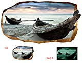 Startonight 3D Tapete Boote auf dem Sand, Wandmalerei Bild an der Wand Großformat Modern Muster Dekorative Kunst Wand 120 x 220 CM