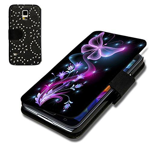itzer Flip Handy Tasche Case Schutz Hülle Schale Motiv Foto Etui für Samsung Galaxy S6 Edge Plus / S6 Edge + - Strass F6 Design6 ()
