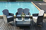 Yakoe Eton Range Outdoor Garden Furniture Conservatory Patio Sofa Chairs and Coffee Table Set - Grey (4-Piece)