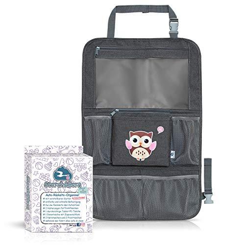 Auto Rücksitz Organizer von Storch&Born® | Premium Rückenlehnenschutz | Rücksitztasche für Ihren Autositz | Autositz-Schoner für Kinder mit großen Taschen und iPad-/Tablet-Fach (Braun)