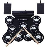 CAHAYA Batteria Elettronica KIT Drum Ricaricabile Tamburo Pieghevole 5 Modalità con Altoparlanti, 9 Pad, Pedali, Bastoni Supporta Connessione con Auricolari Smartphone Computer