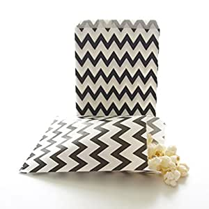 Black Paper Goodie Bags, Birthday Gift Paper Bags, Halloween Party Supplies, Graduation Treat Bags, Black Chevron Bags (25 Pack) by Food With Fashion