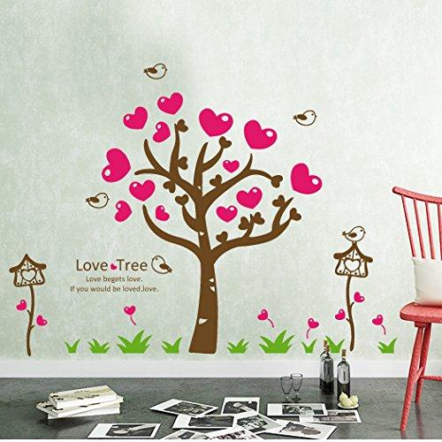 Aha Yo-Liebe Blattpflanzen, Pastorale Wandaufklebern, Kinderzimmer, Schlafzimmer, Wohnzimmer, Hintergrund Mauer, Dekorative Wand-, Diy, Rot