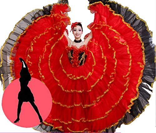 Bauchtanz große Röcke, Stierkampf Tanz Rock Big Swing Rock Kostüm Kostüm spanischen Stierkampf Tanz Rock,D,XXXL (Spanisch Kostüme Für Tanz)