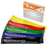 Boundletics 5er Set Fitnessbänder 5 verschieden Starke Loop Bänder mit Transportbeutel und Anleitung