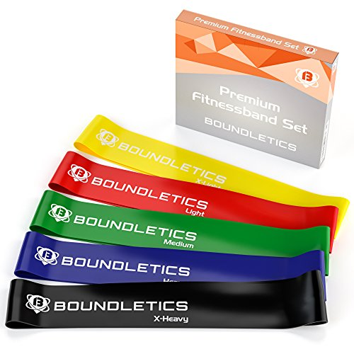 Boundletics Fitnessband 5er Set - Theraband 5 Verschiedene Stärken + Anleitung -