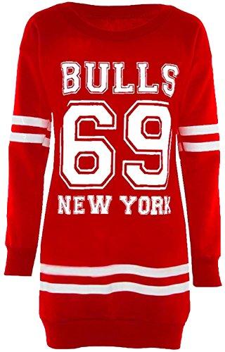 Nouveau Mesdames Varsity Collège Piste à courir Sweatshirt longue surdimensionné Cavaliers Hauts 36-50 69 Bulls Red