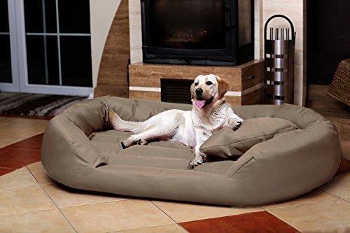 TIERLANDO® S7-34 Sammy Hundesofa Hundebett aus fest gewebtem Polyester Gr. XXXXL 220 cm Beige Dunkel
