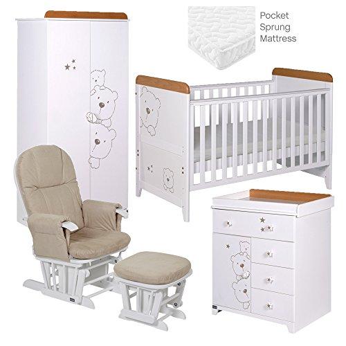 Tutti Bambini Bears Room Set mit Buche/weiß Finish, 5-teilig (Brust Schubladen Buche)