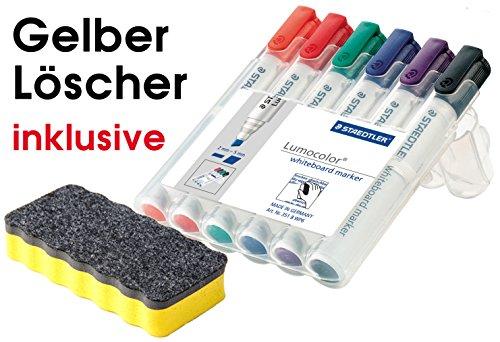 Staedtler 351 B WP6 Lumocolor whiteboard marker, Staedtler Box mit 6 Farben, (1 Marker Set + Whiteboardlöscher)  Auch im Set mit diversem Zubehör wählbar