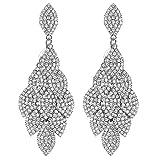 Mecresh - Pendientes colgantes para mujer o dama de honor, diseño de hojas laminadas, pendientes para niña o novia