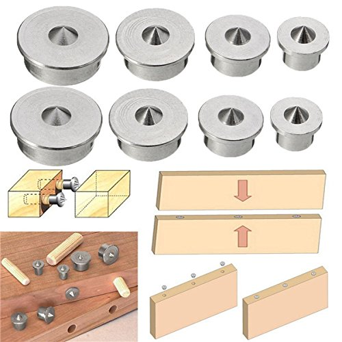 ChaRLes 2 Set Dowel Tenon Center Points Pins 6/8/10/12Mm Dowel Joint Alignment Tool -