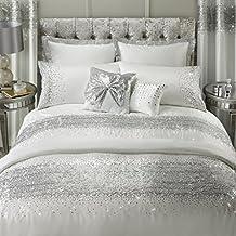 By Caprice casa Astra King Edredón con Ombre con lentejuelas, color blanco/plata