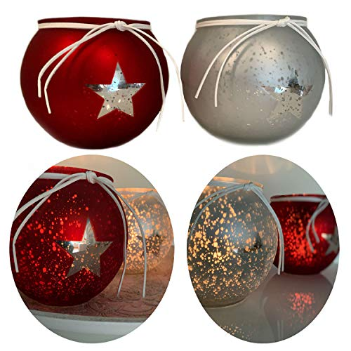 LS-LebenStil 2x Glas Windlicht Rot Silber Kugel Teelichthalter Kerzenständer Kerzenhalter Shabby...
