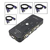 samLIKE USB 2.0 KVM Switch Adapter 5 Port mit Schalter 3 In 4 Out mit 4 x VGA KVM Kabel für Drucker, Scanner, Tastaturen, USB Sticks, Externe Festplatten, Mäusen, Headsets usw (Schwarz)