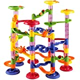 Deuba Murmelbahn Slider Kugelbahn | 36 Glas Murmeln 8mm | 111 Teile Bauvariationen DIY Kinder Spielzeug ab 3 Jahre