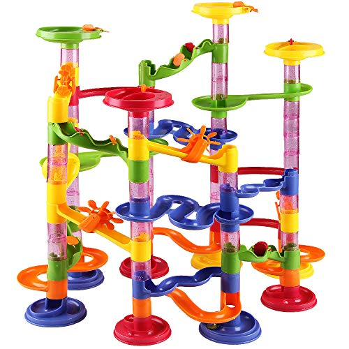 Glas-teil Drei (Deuba Murmelbahn Slider Kugelbahn | 36 Glas Murmeln 8mm | 111 Teile Bauvariationen DIY Kinder Spielzeug ab 3 Jahre)