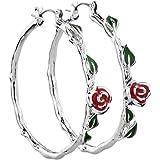 Pu Ran donne moda rosa fiore verde foglie cerchio Hoop Orecchini partito gioielli regalo