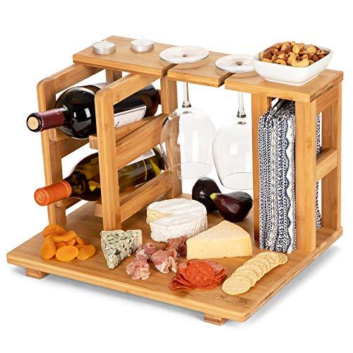 Essenzielles Wein- und Käse-Servierbrett mit Weinregal, Glashalter. -