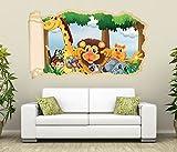 3D Wandtattoo Tiere Kinderzimmer Löwe Giraffe Affe Tapete Wand Aufkleber Wanddurchbruch Deko Wandbild Wandsticker 11N1733, Wandbild Größe F:ca. 162cmx97cm