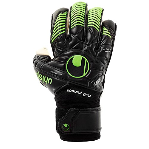 uhlsport Herren Eliminator Absolutgrip Bionik Plus Torwart-Handschuhe, Schwarz/Fluo Grün, 10.5 (Schwarz Ansatz Handschuh)