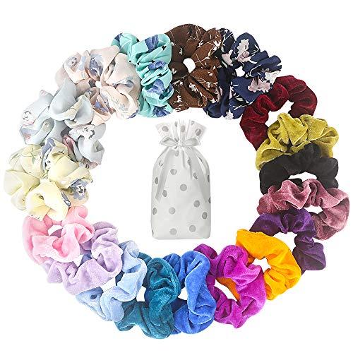 Kollea Scrunchies, 18 Stück Haargummis Mädchen Chiffon Und Haar Scrunchies Samt Haarbänder Elastische mit Geschenktüte