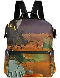 Preisvergleich für COOSUN Happy Halloween Hintergrund Schule Rucksack-Spielraum-Rucksack Multi
