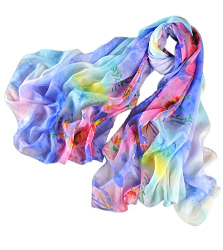 prettystern Oversize Leicht 100% Chiffon Seidenschal in Frischer Sommer Farbe mit Floral Druck - Blau -
