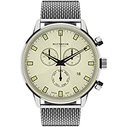 Blenheim London® Chronomaster Beige Dial Pilot Watch with Stainless Steel Strap